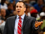 Head coach Frank Vogel of the Indiana Pacers reacts during the game against the New Orleans Pelicans at the New Orleans Arena on October 30, 2013