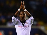 Hugo Rodallega of Fulham celebrates scoring the opening goal during the Capital One Cup fourth round match between Leicester City and Fulham on October 29, 2013