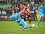 Rennes' Nelson Oliveira scores the opening goal against Marseille on November 2, 2013