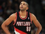 Nicolas Batum of the Portland Trail Blazers looks on against the Denver Nuggets at Pepsi Center on November 1, 2013