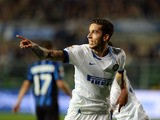 Ricardo Alvarez of FC Inter celebrates scoring the first goal during the Serie A match against Atalanta BC on October 29, 2013