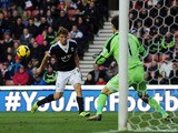 Jay Rodriguez of Southampton scores their first goal past Asmir Begovic of Stoke City during the Barclays Premier League match between Stoke City and Southampton on November 02, 2013
