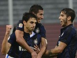 Inter Milan's defender Andrea Ranocchia celebrates with teammates after scoring during the Italian seria A football match Udinese vs Inter Milan, on November 3, 2013