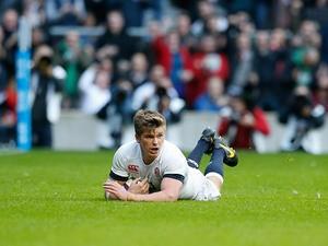 England's Owen Farrell scores a try against Australia during their QBE International match on November 2, 2013