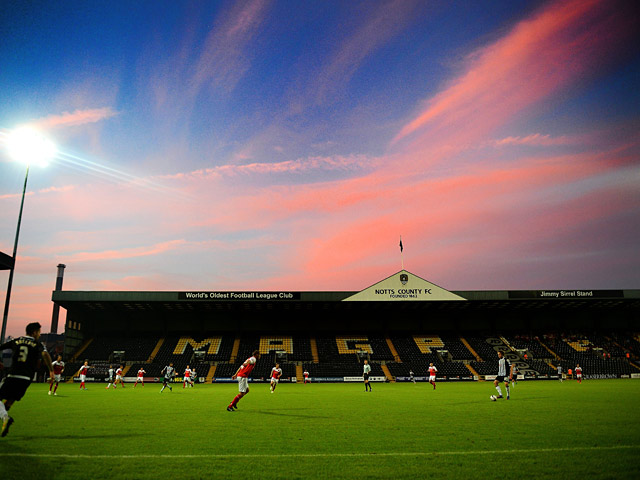 A general view of Meadow Lane, home of Notts County during their League Cup match against Fleetwood Town on August 7, 2013