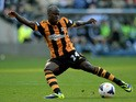 Sone Aluko of Hull City shoots on goal during the Barclays Premier League match between Hull City and West Ham United at KC Stadium on September 28, 2013