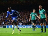Demba Ba of Chelsea celebrates after scoring his team's third goal during the UEFA Champions League Group E match between Chelsea and FC Schalke 04 at Stamford Bridge on November 6, 2013