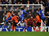 Victor Moses of Chelsea scores his goal during the UEFA Champions League Group E match between Chelsea and Shakhtar Donetsk at Stamford Bridge on November 7, 2012