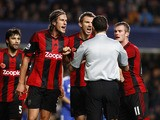 West Brom trio Jonas Olsson, Gareth McAuley and Chris Brunt appeal to referee Andre Marriner after he awards a late penalty to Chelsea during the Barclays Premier League match between Chelsea and West Bromwich Albion at Stamford Bridge on November 09, 201