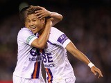 Ryo Nagai of Glory celebrates scoring a goal during the A-League Elimination final match between Melbourne Victory and Perth Glory at Etihad Stadium on April 5, 2013
