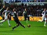 Stoke's Stephen Ireland scores his team's second goal against Swansea on November 10, 2013