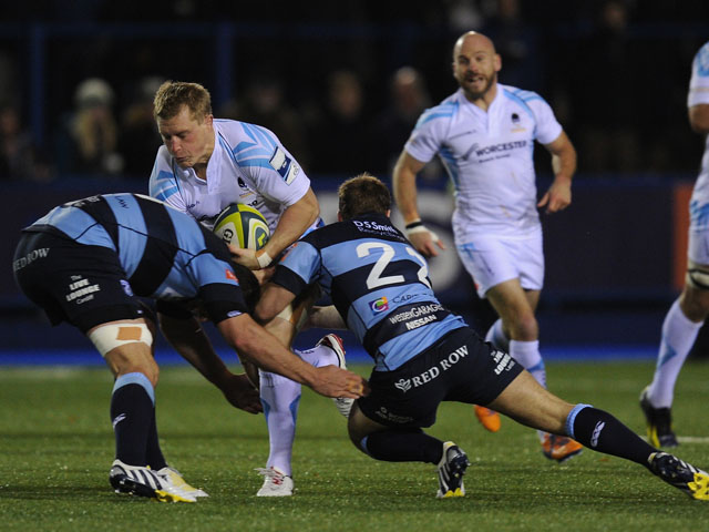 Worcester player Jake Abbott runs into the Blues defence during the LV = Cup round one fixture between Cardiff Blues and Worcester Warriors at Cardiff Arms Park on November 8, 2013