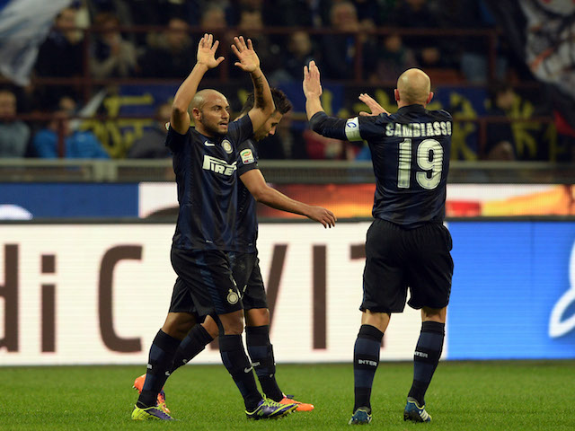 Jonathan of FC Inter Milan celebrates scoring the first goal during the Serie A match between FC Internazionale Milano and AS Livorno on November 9, 2013
