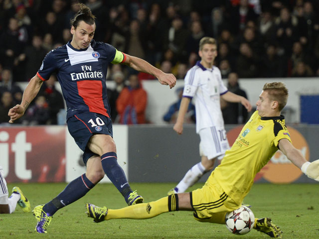 Paris Saint-Germain's Swedish forward Zlatan Ibrahimovic scores a goal during the UEFA Champions League football match Paris Saint-Germain (PSG) vs RSC Anderlecht (RSCA) on November 5, 2013