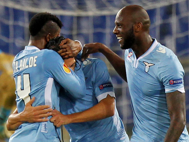 Sergio Floccari of SS Lazio celebrates with his team-mates after scoring the opening goal during the UEFA Europa League Group J match between SS Lazio and Apollon on November 7, 2013