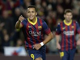 Barcelona's Chilean forward Alexis Sanchez celebrates after scoring during the Spanish league football match FC Barcelona vs RCD Espanyol at the Camp Nou stadium in Barcelona on November 1, 2013
