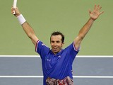 Radek Stepanek of Czech Republic celebrates victory during the men's singles match against Dusan Lajovic of Serbia on November 17, 2013