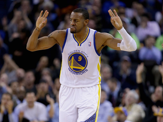 Andre Iguodala #9 of the Golden State Warriors reacts after he made a three-point basket against the Oklahoma City Thunder at ORACLE Arena on November 14, 2013