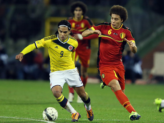 Belgium's Axel Witsel and Colombia's Radamel Falcao battle for the ball during an international friendly match on November 14, 2013