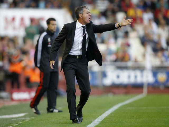 Granada's coach Lucas Alcaraz reacts during the Spanish league football match Valencia CF vs Granada at the Mestalla stadium in Valencia on May 26, 2013
