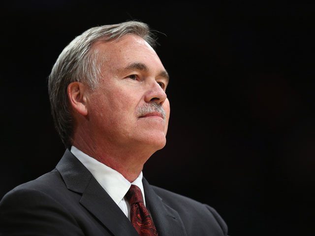 Los Angeles Lakers head coach Mike D'Antoni looks on during the game against the Utah Jazz at Staples Center on October 22, 2013