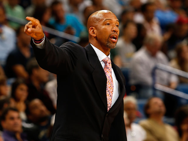 Head coach Monty Williams of the New Orleans Pelicans reacts during the game against the Indiana Pacers at the New Orleans Arena on October 30, 2013