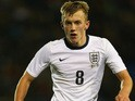James Ward-Prowse of England during the 2015 UEFA European U21 Championship Qualifying match between England U21 and San Marino U21 at Greenhous Meadow on November 19, 2013
