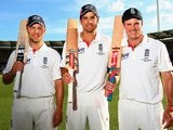 Centurions Andrew Strauss, Alastair Cook, Jonathan Trott pose with their bats at The Gabba on November 29, 2010.