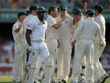 Michael Carberry of England leaves the field after being bowled by Ryan Harris of Australia during day three of the First Ashes Test match between Australia and England at The Gabba on November 23, 2013