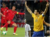 Cristiano Ronaldo in action for Portugal and Zlatan Ibrahimovic of Sweden