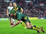 Australia's Johnathan Thurston scores a try during the 2013 Rugby League World Cup semi-final match between Australia and Fiji at Wembley Stadium in London, England on November 23, 2013