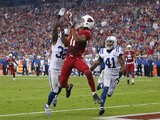 Wide receiver Larry Fitzgerald of the Arizona Cardinals catches a touchdown reception past cornerback Cassius Vaughn strong safety Antoine Bethea of the Indianapolis Colts on November 24, 2013