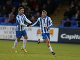 Luke James of Hartlepool United celebrates with team mate Jack Compton after scoring his sides 1st goal during the Sky Bet League Two match between Hartlepool United and Northampton Town at Victoria Park on November 23, 2013