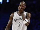 Brooklyn Nets Kevin Garnett reacts against the Detroit Pistons during an NBA game at the Barclays Center on November 24, 2013
