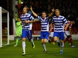 Kaspars Gorkss of Reading celebrates the second goal during the Sky Bet Championship match between Nottingham Forest and Reading at City Ground on November 29, 2013