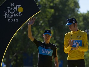 Bradley Wiggins and Chris Froome on the podium at the end of the 2012 Tour de France cycling race on July 22, 2012