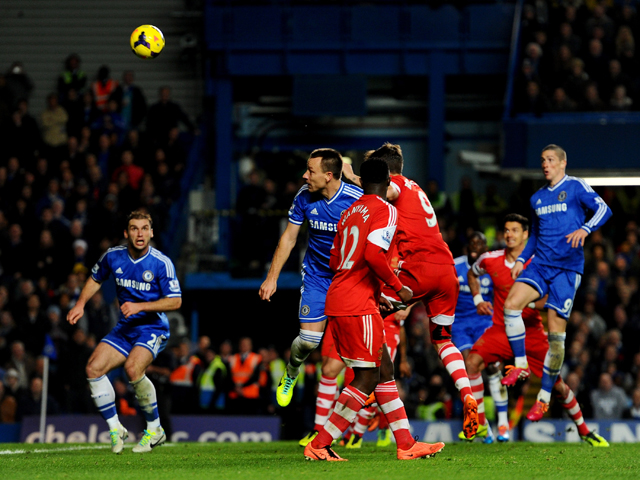 John Terry of Chelsea scores their second goal with a header during the Barclays Premier League match between Chelsea and Southampton at Stamford Bridge on December 1, 2013