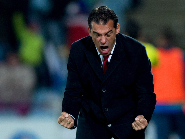 Head coach Luis Garcia of Getafe CF celebrates scoring their first goal during the La Liga match between Getafe CF and Levante UD at Coliseum Alfonso Perez on November 29, 2013
