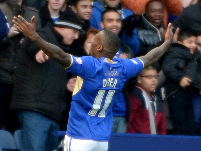 Lloyd Dyer of Leicester celebrates after opening the scoring during the Sky Bet Championship match between Leicester City and Millwall at The King Power Stadium on November 30, 2013