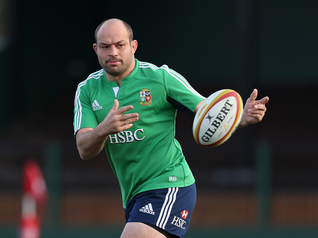 Rory Best passes the ball during the British and Irish Lions training session held at Scotch College on June 27, 2013