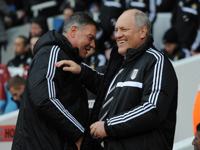 Manager Martin Jol of Fulham shares a joke with manager Sam Allardyce of West Ham United before the Barclays Premier League match on November 30, 2013