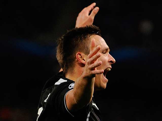 Viktoria Plzen's Stanislav Tecl celebrates after scoring his team's second goal against Man City during their Champions League group match on November 27, 2013