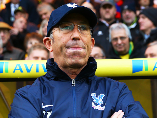 New Crystal Palace boss Tony Pulis looks on during the Barclays Premier league match between Norwich City and Crystal Palace at Carrow Road on November 30, 2013