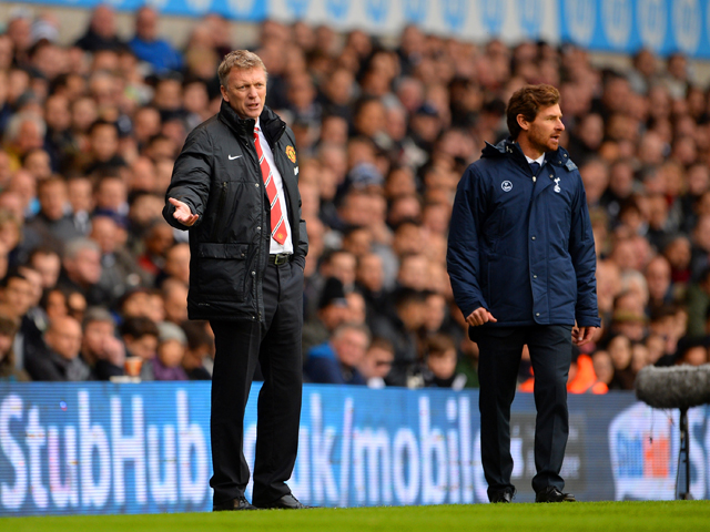 David Moyes manager of Manchester United and Andre Villas-Boas manager of Tottenham Hotspur give instructions from the touchline during the Barclays Premier League Match between Tottenham Hotspur and Manchester United at White Hart Lane on December 1, 201