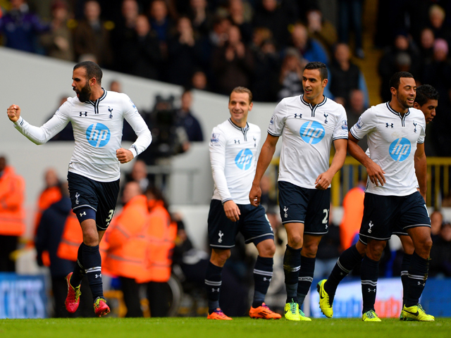 Sandro of Tottenham Hotspur looks towards the bench as he celebrates scoring their second goal during the Barclays Premier League Match between Tottenham Hotspur and Manchester United at White Hart Lane on December 1, 2013