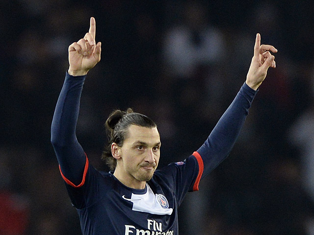 Paris SaintGermain39;s Zlatan Ibrahimovic celebrates after scoring the