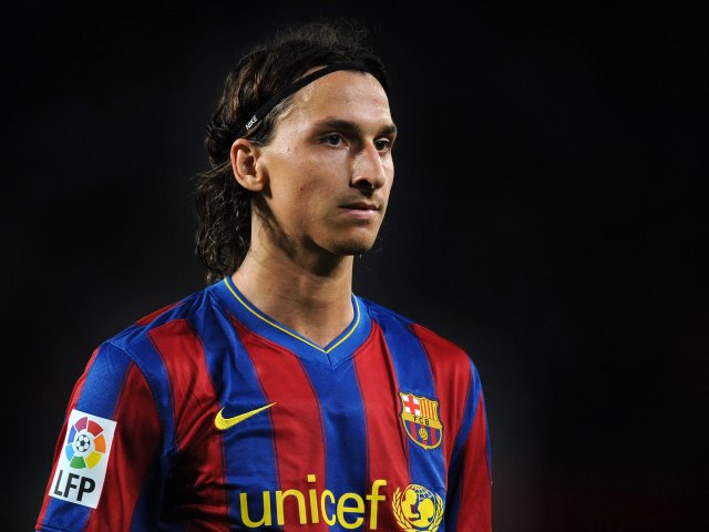 Zlatan Ibrahimovic in action for Barcelona on August 31, 2009.