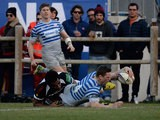 Saracens' Chris Ashton scores a try against Zebre during the Heineken Cup on December 7, 2013