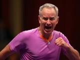 John McEnroe reacts during day two of his Statoil Masters Tennis match against Wayne Ferreira on December 5, 2013