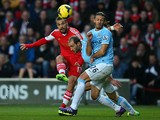 Pablo Daniel Osvaldo of Southampton shoots to score the equalising goal during the Barclays Premier League match between Southampton and Manchester City at St Mary's Stadium on December 7, 2013